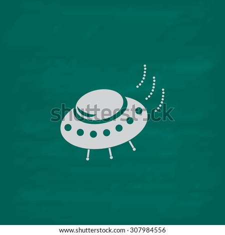 UFO. Icon. Imitation draw with white chalk on green chalkboard. Flat Pictogram and School board background. Vector illustration symbol