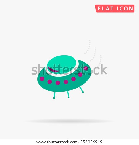 UFO Icon Vector. Flat color symbol on white background with shadow