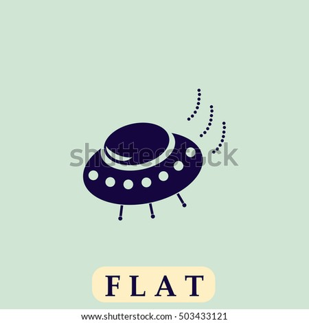 UFO Icon Vector. Flat simple pictogram on light background