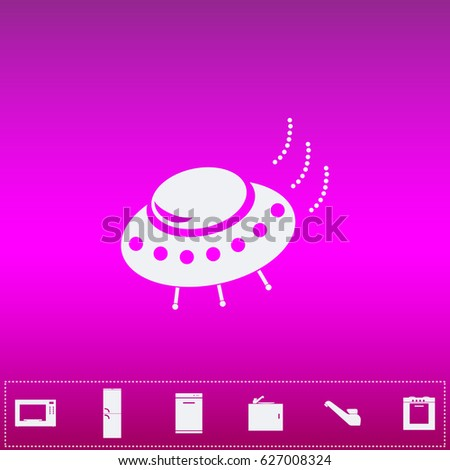 UFO Icon Vector. Flat simple white pictogram on purple background. Illustration symbol and bonus kitchen icons set