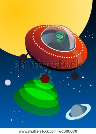 UFO in space, vector illustration