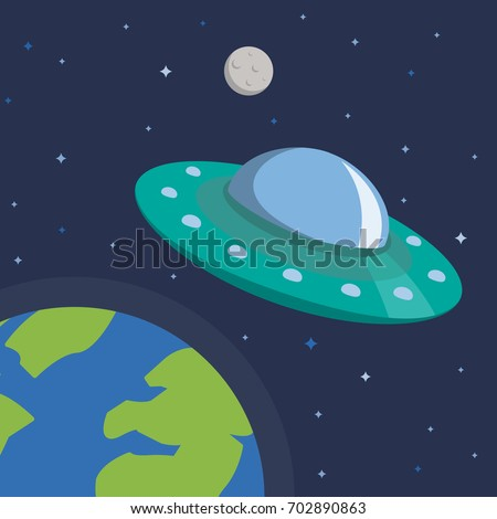 ufo in space with earth and moon