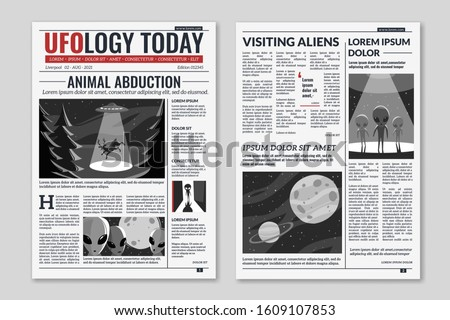UFO newspaper. Newspaper columns with text, media news headlines extraterrestrial civilizations and aliens article, publication layout vector information concept