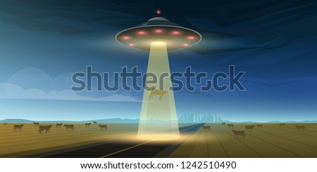 UFO or Flying saucer in space. Aliens launched a spacecraft. A flash of light shines on Earth. Little Green Men. extraterrestrial flew to our planet. Cosmic Template for banners, cards or posters.