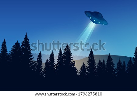 ufo over the night forest