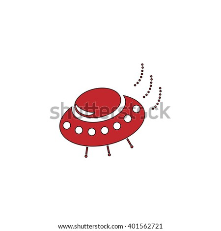UFO. Red flat simple modern illustration icon with stroke. Collection concept vector pictogram for infographic project and logo