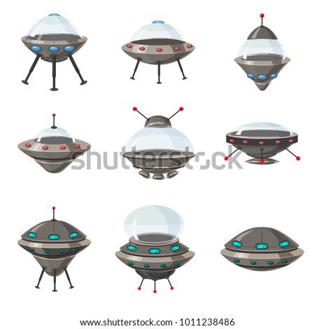 UFO set, alien spaceships, cartoon style, isolated, vector, illustration