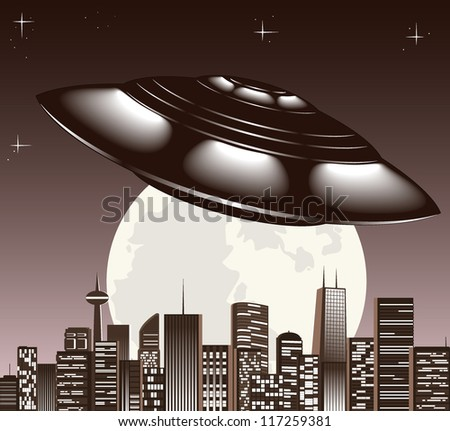 UFO spaceship and big night city