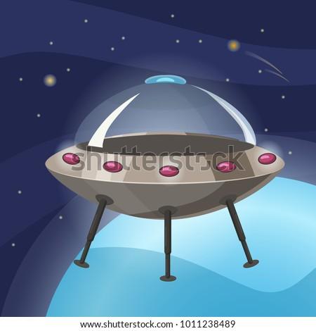 ufo spaceship  cartoon style