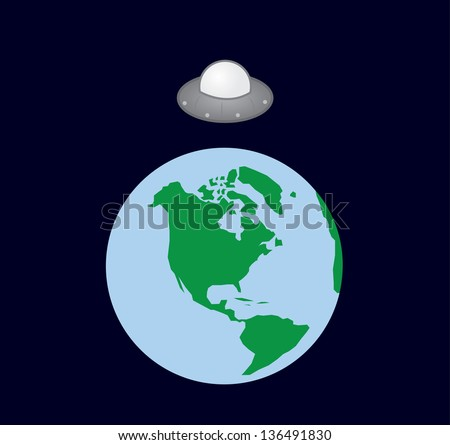 UFO spaceship hovering over earth