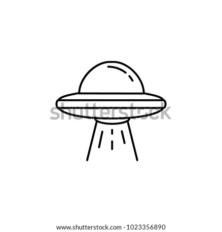 Ufo spaceship icon in line style. Space illustration with Ufo in white background. Element for space design. Science space object.