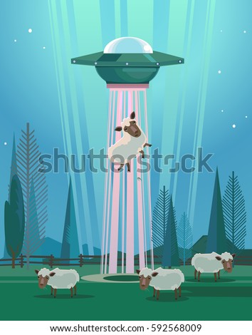 ufo stealing sheep character
