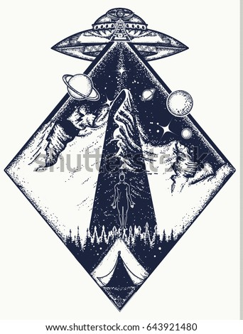 UFO tattoo art and t-shirt design. Invasion of aliens. Aliens kidnap human. Mystical symbol paranormal phenomena,  first contact