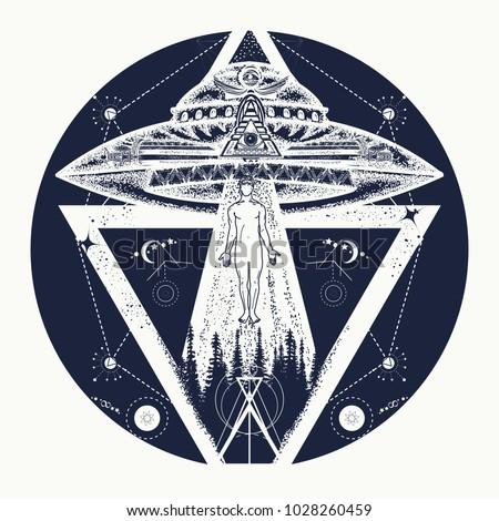 ufo tattoo art and t shirt