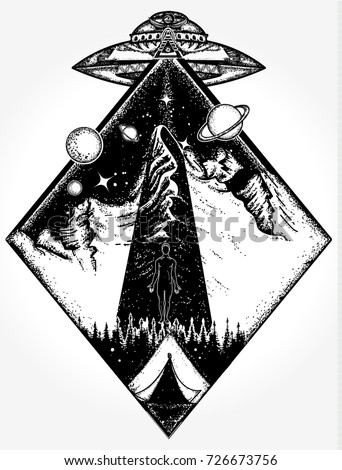 ufo tattoo art and t shirt