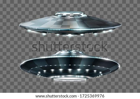 UFO. Unidentified flying object. Futuristic UFO on the transparent background. Photo-realistic vector illustration.