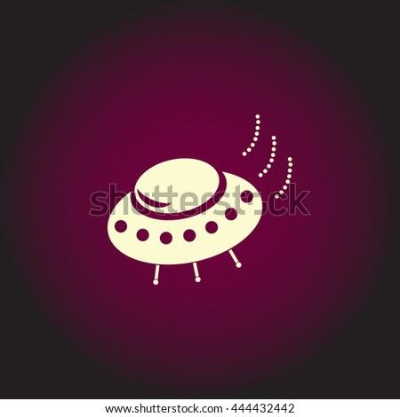 UFO. White vector icon on dark background. Flat pictogram