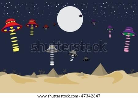 ufos flying above the desert
