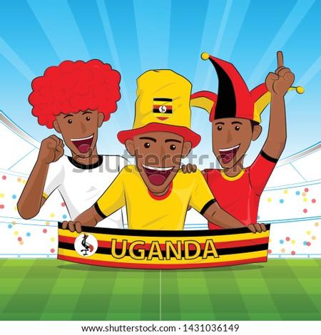 Uganda Flag. Cheer football sport fans. soccer support Vector illustration.