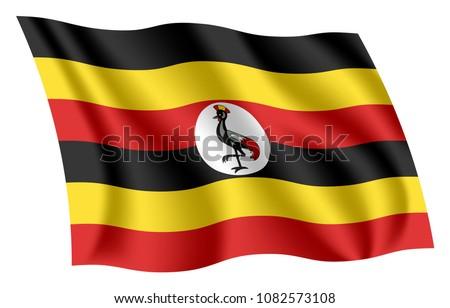 Shutterstock Uganda flag. Isolated national flag of Uganda. Waving flag of the Republic of Uganda. Fluttering textile ugandan flag.