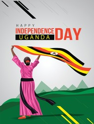 Uganda Girl waving flag her hands. 9th October Happy Independence day celebration concept. can be used as poster or banner design. vector illustration.