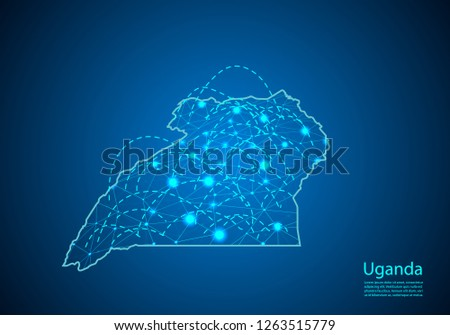 uganda map with nodes linked by lines. concept of global communication and business. Dark uganda map created from white dots with travel locations or internet connection. #1263515779