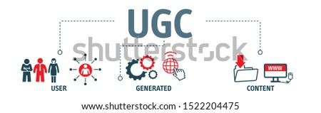 UGC. User-generated Content Vector Illustration Concept with Keywords and Icons Stock photo ©