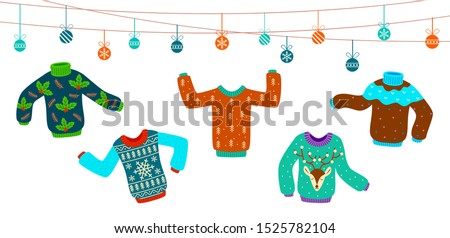 Ugly christmas sweater. Dancing knitting sweaters, xmas jumpers vector winter holiday party fashion funny pattern invitation card