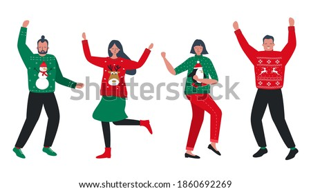 Ugly Christmas Sweater Party. Young people in red and green Christmas sweaters with deer, snowman, penguin are dance. Vector illustration.