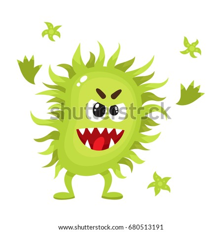 Ugly green virus, germ, bacteria character with human face, cartoon vector illustration on white background.