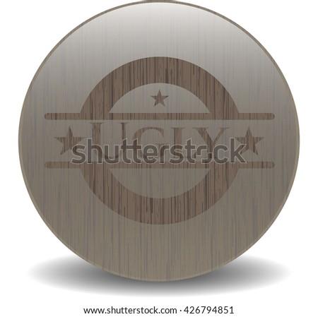 Ugly retro style wooden emblem