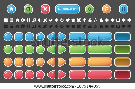 UI buttons icons set. Isolated vector illustration of mobile game sprites. Design for stickers, logo, mobile app. Arcade or match 3 2d game asset. Flat sprite sheet. Constructor with basic ui elements