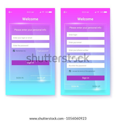 UI design, account register or authorization, interface for touchscreen mobile apps. UX Screen on glass background. Entrance via login, password. Registration with personal data #1056060923