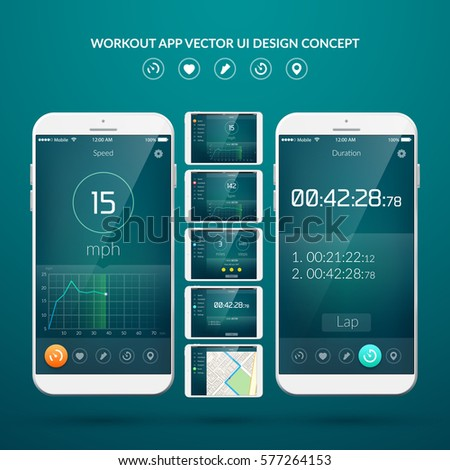 UI design concept with web elements of workout application for mobile and tablet devices isolated vector illustration