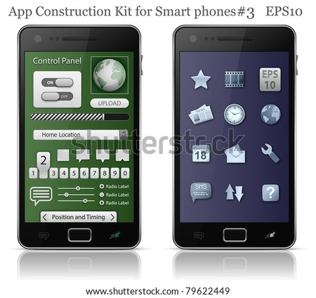 UI elements for Smart phone. User interface template. EPS 10. Vector illustration