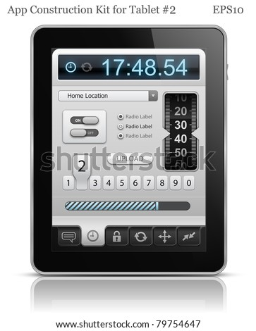 UI elements for Tablet. User interface template. EPS 10. Vector illustration