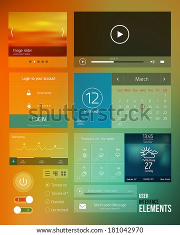 UI elements for web and mobile.Icons and buttons.Modern design Vector
