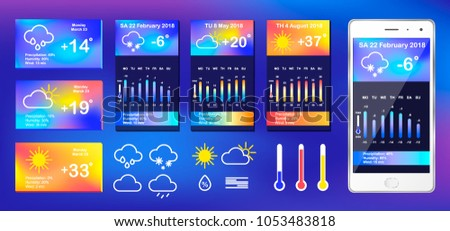 UI Elements, Weather Application User Interface Concept. Weather widgets for web browsers or smartphones. Vector weather app interface widget, ui phone application. Vector EPS 10 Illustration