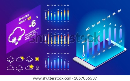 UI Elements, Weather Application User Interface Concept. Weather widgets for web browsers or smartphones. Vector weather app interface widget, ui phone application.  Isometric Illustration.