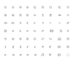 Ui essential web and mobile icons, black isolated vector set. media audio video sound acoustics microphone gallery camera interface symbol collection