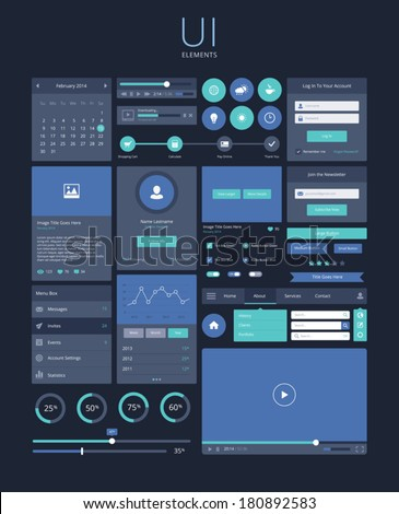 UI flat design elements, modern, dark