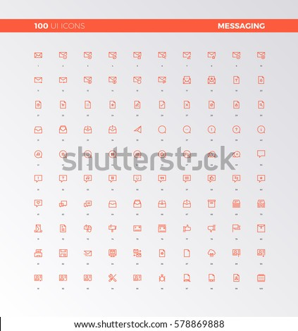 UI icons collection. Messaging and chatting elements. UX pictograms for user interface, web apps and business presentation. 32px simple line icons set. Premium quality symbols and sign web collection.