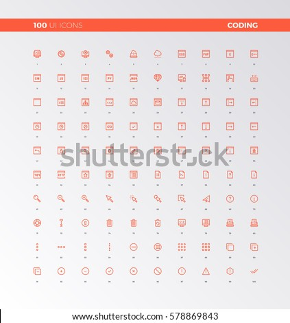 UI icons of apps programming, coding process. UX pictograms for user interface design, web apps and computer software. 32px simple line icons set. Premium quality symbols and sign web logo collection.