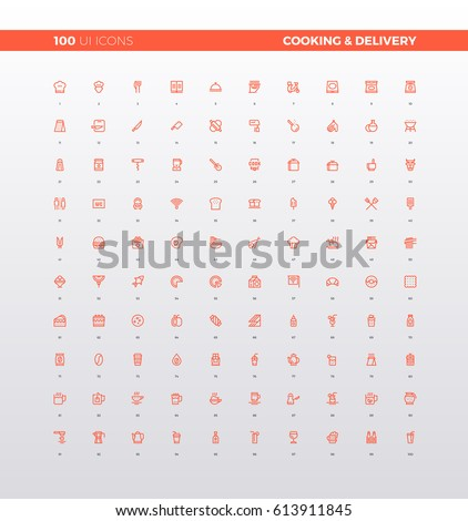 UI icons of food delivery service, cooking recipe, meal ingredients. Culinary elements for cafe, bar, restaurant menu. 32px simple line icons set. Premium quality symbols and sign web logo collection.