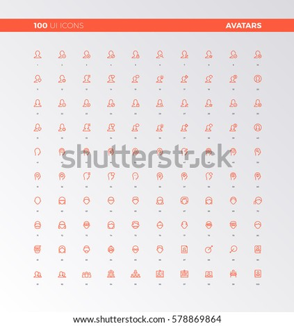 UI icons of human heads, people avatars. UX pictograms for user interface design, web apps and business presentation. 32px simple line icons set. Premium quality symbols and sign web logo collection.