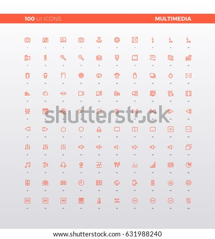 UI icons of multimedia elements for media presentation, audio settings, sound editor application, video camera record. 32px simple line icons set. Premium quality symbols and sign web logo collection.
