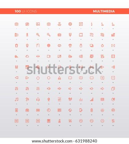 ui icons of multimedia elements