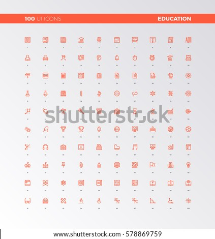 UI icons of school education and study process. UX pictograms for user interface design, web apps and business presentation. 32px simple line icons set. Premium quality symbols and sign web collection