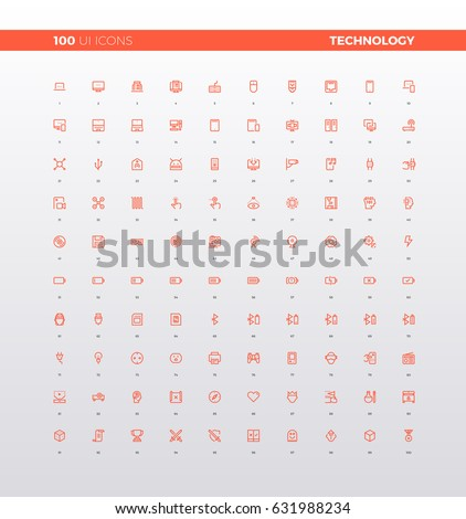 UI icons of various technology device, consumer and personal electronics, media tools, wearable tech for communication. 32px simple line icons set. Premium quality symbols and sign web logo collection
