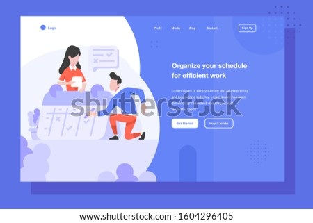 UI Landing Page Vector Illustration Business finance man and women managing schedule management work date calendar people character flat design style